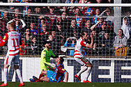 Doncaster Rovers forward John Marquis (9) puts the ball high over the bar at the end of  the EFL Sky Bet League 1 match between Scunthorpe United and Doncaster Rovers at Glanford Park, Scunthorpe, England on 23 February 2019.