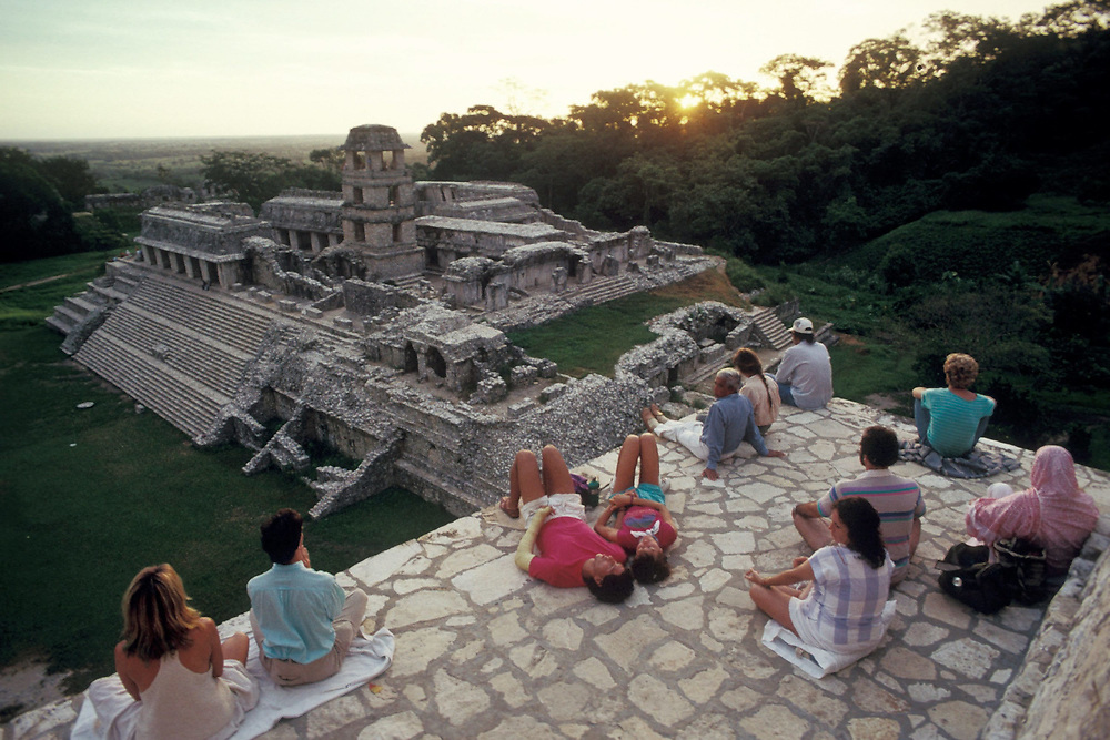 Worshippers experiencing the harmonic convergence at Palenque ruins, Mexico. August 17, 1987<br /> ©Bob Daemmrich