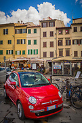 Fiat car parked in Piazza in Florence, Italy