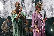 Gail Ann Dorsey and Mina Tindle with American indie-rock band The National at Jahrhunderthalle in Frankfurt
