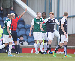 Raith Rovers Jason Thomson gets booked for a dive. <br /> Raith Rovers 1 v 2 Hibernian, Scottish Championship game played 24/10/2015 at Starks Park.