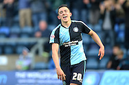 Luke O'Nien of Wycombe Wanderers celebrates scoring his sides 1st goal to make it 1-0.Skybet football league two match, Wycombe Wanderers  v Stevenage Town at Adams Park  in High Wycombe, Buckinghamshire on Saturday 12th March 2016.<br /> pic by John Patrick Fletcher, Andrew Orchard sports photography.