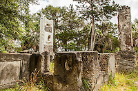 Ruins of the Couper house at Cannon's Pt. on St. Simons Island.  One of the two remaining chimneys has been recently covered with plaster to  protect it.