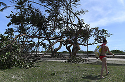 MIAMI, Sept. 12, 2017  A woman walks by a tree broken by strong wind after Hurricane Irma swept through the area, in Miami, Florida, the United States, on Sept. 11, 2017. Powerful Hurricane Irma roared into Florida and knocked out power to more than 3 million homes and businesses in Florida on Sunday.  gj) (Credit Image: © Yin Bogu/Xinhua via ZUMA Wire)