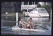 Henley on Thames. Henley,  United Kingdom. <br /> Bow Jonathan HULLS and Jonny SINGFIELD. GBR rowing Team Training on Henley Reach, England.<br /> [Mandatory Credit; Peter SPURRIER/Intersport Images] 1990 GBRowing Training on Henley Re 1990 GBRowing Training on Henley Reach. UK