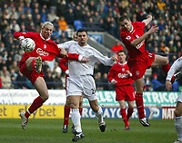 Photo. Andrew Unwin.<br /> Bolton Wanderers v Liverpool, Barclaycard Premier league, Reebok Stadium, Bolton 07/02/2004.<br /> Liverpool's Anthony Le Tallec (l) and Michael Owen (r) are unable to convert an early chance.
