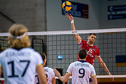 Filip Sestan of Croatia in action during the CEV Eurovolley 2021 Qualifiers between Sweden and Croatia at Topsporthall Omnisport on May 15, 2021 in Apeldoorn, Netherlands