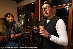 Hideki Saito at the SureShot shop after a ride around Chiba, Japan. Saturday, December 8, 2018. Photography ©2018 Michael Lichter.