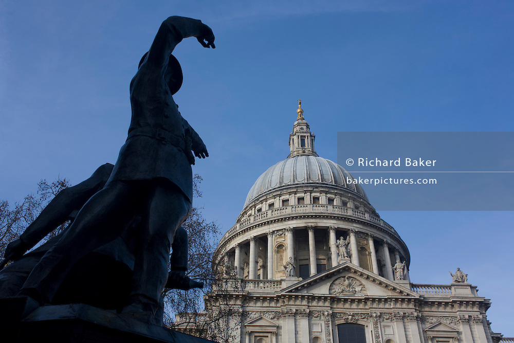 The memorial to lost firefighters during the Blitz bombing era of ww2, beneath the Wren-designed dome of St. Paul's Cathedral.