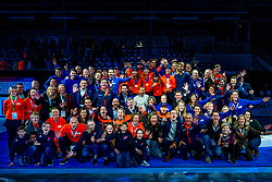 13-01-2019 NED: ISU European Short Track Championships 2019 day 3, Dordrecht<br /> Team Netherlands and TigSports crew pose after the Men's Relay medal ceremony during the ISU European Short Track Speed Skating Championships.