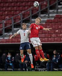 Kieran Trippier (England) og Daniel Wass (Danmark) under UEFA Nations League kampen mellem Danmark og England den 8. september 2020 i Parken, København (Foto: Claus Birch).