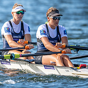 Kirstyn Goodger (bow)  & Ruby Tew Race the premier double sculls<br /> <br /> Racing the Christmas Regatta on Lake Karapiro, Cambridge, New Zealand. Saturday 14 December 2019  © Copyright photo Steve McArthur / www.photosport.nz
