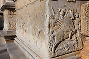 Carvings of battle and heroism outside the Palacio de Carlos V at Alhambra, Granada, Spain.