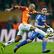 Galatasaray's Felipe Melo De Carvalho (L) during their UEFA Champions League Round of 16 First leg soccer match Galatasaray between Chelsea at the AliSamiYen Spor Kompleksi in Istanbul, Turkey on Wednesday 26 February 2014. Photo by Aykut AKICI/TURKPIX