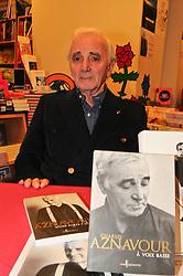 Singer Charles Aznavour signs copies of his new book 'D'Une Porte A L'Autre' at Le Divan Bookshop in Paris, France on December 16, 2011. Photo by Karine Mahiout/ABACAPRESS.COM