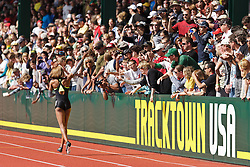 Sanya Richards-Ross, Women's 400 meters, champion, Olympian, waves American flag on victory lap