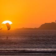 Kytesurfing at sunset in Essaouira