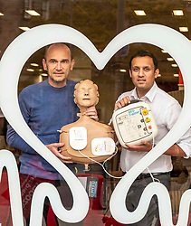 Pictured: <br />Labour MSP Anas Sarwar set out plans for a Member's Bill calling for the devices to be registered in order to improve<br /> survival rates following cardiac arrest. Mr Sarwar was joined by cardiac arrest survivor Miro Dragic<br /><br />Ger Harley | EEm Date