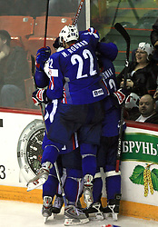 Team Slovenia celebrate third goal at ice-hockey game Slovenia vs Slovakia at second game in  Relegation  Round (group G) of IIHF WC 2008 in Halifax, on May 10, 2008 in Metro Center, Halifax, Nova Scotia, Canada. Slovakia won after penalty shots 4:3.  (Photo by Vid Ponikvar / Sportal Images)