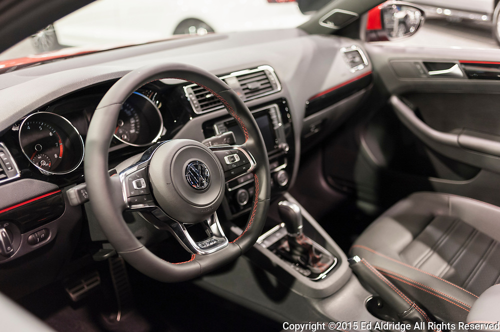 CHARLOTTE, NC, USA - November 11, 2015: Volkswagen Jetta interior on display during the 2015 Charlotte International Auto Show at the Charlotte Convention Center in downtown Charlotte.