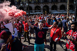 May 1, 2019 - Barcelona, Catalonia, Spain - A Liverpool fan holding a bengale before the UEFA Champions League Semi Final first leg match between Barcelona and Liverpool at the Nou Camp on May 01, 2019 in Barcelona, Spain. (Credit Image: © Pau Venteo/NurPhoto via ZUMA Press)