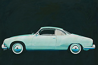 The Volkswagen Karmann Ghia was built to boost Volkswagen's image. Here Jan Keteleer has shown this Volkswagen Karmann Ghia in an original color from 1959 seen from the side. Volkwagen has with this Karmann Ghia one of the most beautiful Volkswagens ever made. -<br />