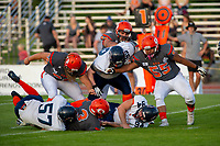 KELOWNA, BC - AUGUST 3:  JJ Heaton #62 and Bear Akachuk #55 attempt to block the tackle on running back Malcolm Miller #3 of the Okanagan Sun by linebacker Darby Kwan #57 of the Kamloops Broncos at the Apple Bowl on August 3, 2019 in Kelowna, Canada. (Photo by Marissa Baecker/Shoot the Breeze)