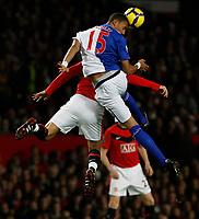 Photo: Steve Bond/Richard Lane Photography. Manchester United v Blackburn Rovers. Barclays Premiership 2009/10. 31/10/2009. Steven Nzoni gets above Dimitar Berbatov