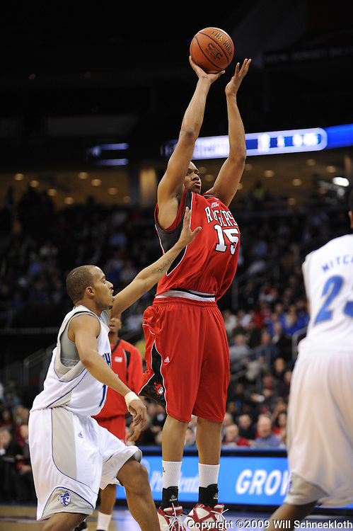 Jan 29, 2009; Newark, NJ, USA;  Rutgers forward J.R. Inman (15) takes a shot from the top of the key during the first half of Seton Hall's 70-67 victory at the Prudential Center.
