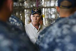 August 29, 2017 - San Diego, CA, USA - Richard V. Spencer, secretary of the Navy speaks with crew members of the USS Gabrielle Giffords at Naval Base San Diego on Tuesday, Aug. 29, 2017. (Credit Image: © Nelvin C. Cepeda/TNS via ZUMA Wire)