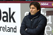 Chelsea Manager Antonio Conte looks on from the dugout prior to kick off. Premier league match, Burnley v Chelsea at Turf Moor in Burnley, Lancs on Sunday 12th February 2017.<br /> pic by Chris Stading, Andrew Orchard Sports Photography.