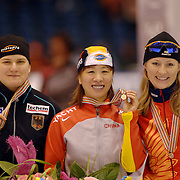 NLD/Heerenveen/20060121 - ISU WK Sprint 2006, Jenny Wolf, manli Wang en Svetlana Zhurova, Zjoerova, wereldkampioene, rusland, russia