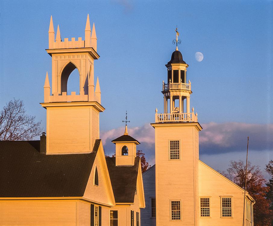 Country steeples of New England village & rising moon, Washington, NH