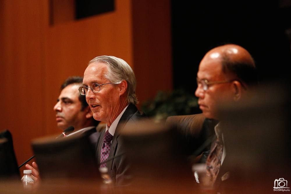 Rob Means answers questions during the Milpitas City Council Forum at Milpitas City Hall in Milpitas, California, on October 9, 2014. (Stan Olszewski/SOSKIphoto)