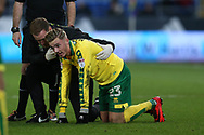James Maddison of Norwich city gets treatment for an injury. EFL Skybet championship match, Cardiff city v Norwich city at the Cardiff city stadium in Cardiff, South Wales on Friday 1st December 2017.<br /> pic by Andrew Orchard, Andrew Orchard sports photography.