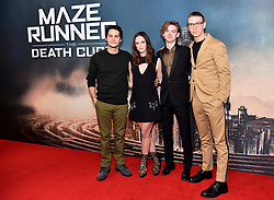 (left to right) Dylan O'Brien, Kaya Scodelario, Thomas Brodie-Sangster and Will Poulter attending the Maze Runner: The Death Cure fan screening held at Vue West End in Leicester Square, London.