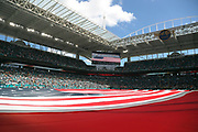 A large American flag covers the field and is shown on the scoreboard during the playing of the National anthem before the Miami Dolphins 2016 NFL week 5 regular season football game against the Tennessee Titans on Sunday, Oct. 9, 2016 in Miami Gardens, Fla. The Titans won the game 30-17. (©Paul Anthony Spinelli)