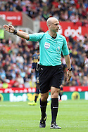 Referee Anthony Taylor in action. Premier league match, Stoke City v Tottenham Hotspur at the Bet365 Stadium in Stoke on Trent, Staffs on Saturday 10th September 2016.<br /> pic by Chris Stading, Andrew Orchard sports photography.