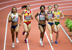 Laviai Nielsen of Great Britain, Laura Bueno of Spain, Deborah Sananes of France, Tamara Salaski of Serbia and Eva Misiunaite of Lithuania compete in the Women's 400 metres heats on day one of the 2017 European Athletics Indoor Championships at the Kombank Arena on March 3, 2017 in Belgrade, Serbia. Photo by Vid Ponikvar / Sportida