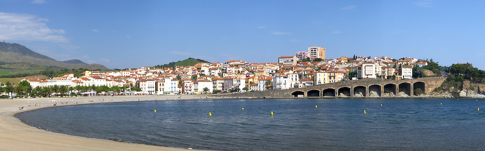 Town and beach. Banyuls sur Mer, Roussillon, France