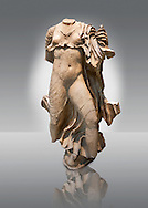 Statue of a Nereid ( Mythical Greek Sea Nymphs) from the sculptured  4th cent. B.C Lycian Nereid  Monument tomb of Arbina, a Xanthian client ruler of the Persians conquerors of Lycia. From Xanthos UNESCO World Heritage site, south west Turkey. British Museum exhibit excavated by Charles Fellows in 1840s. .<br /> <br /> If you prefer to buy from our ALAMY PHOTO LIBRARY  Collection visit : https://www.alamy.com/portfolio/paul-williams-funkystock/lycian-antiquities.html (TIP - Refine search by adding a suject or background colour as well).<br /> <br /> Visit our CLASSICAL WORLD HISTORIC SITES PHOTO COLLECTIONS for more photos to download or buy as wall art prints https://funkystock.photoshelter.com/gallery-collection/Classical-Era-Historic-Sites-Archaeological-Sites-Pictures-Images/C0000g4bSGiDL9rw