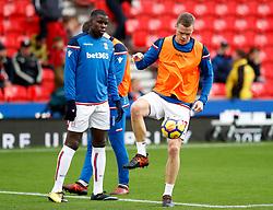 Stoke City's Ryan Shawcross (right) and Stoke City's Kurt Zouma (left) during warm-up