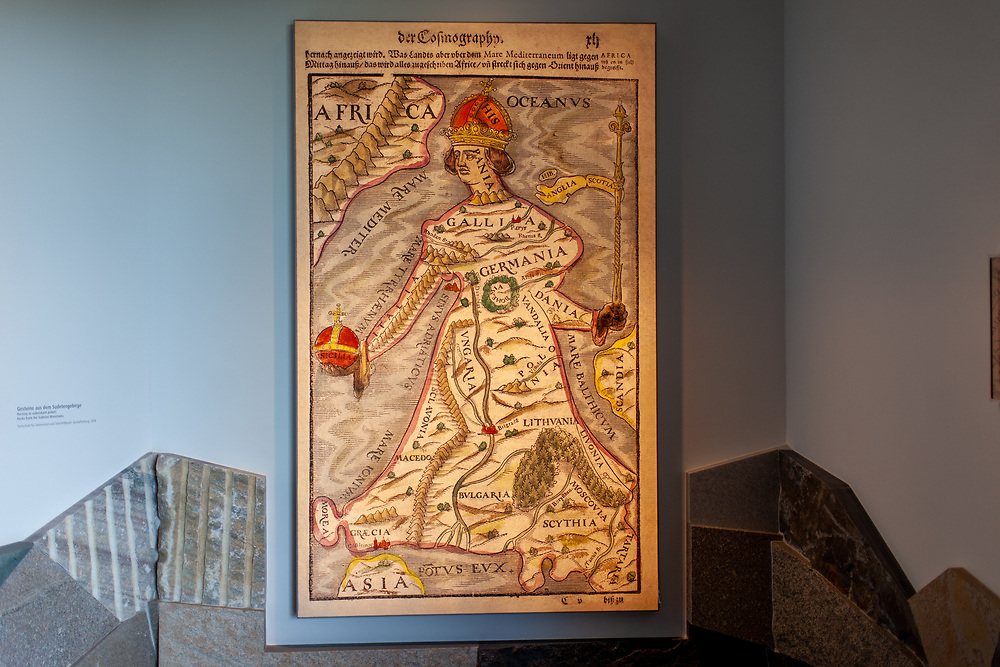 First part of the exhibition at the Sudeten German museum: Europa regina, Latin for Queen Europe, is the map-like depiction of the European continent as a queen. Made popular in the 1500s, the map shows Europe standing upright, with Hispania forming her crowned head, and Bohemia her heart.