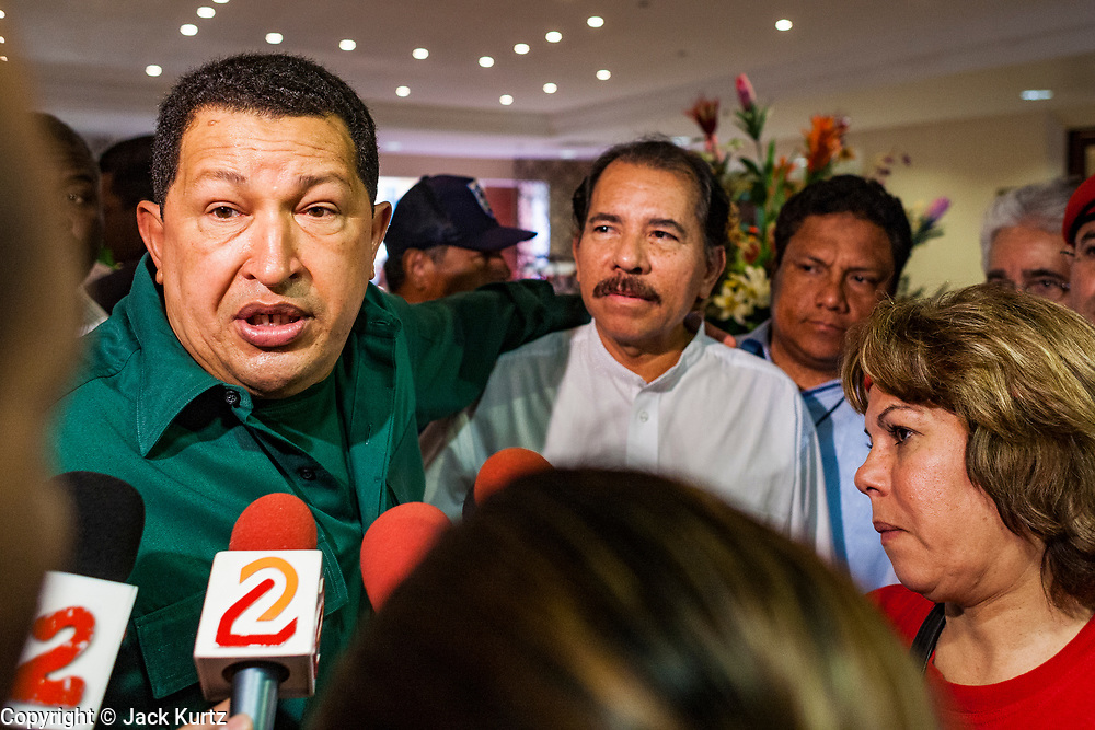 12 JANUARY 2007 - MANAGUA, NICARAGUA: HUGO CHAVEZ, President of Venezuela (left) and DANIEL ORTEGA, President of Nicaragua talk to reporters in Managua before Chavez left Nicaragua to return to Venezuela. Chavez has promised massive amounts of aid  for Nicaragua including free and discounted oil and portable electric generating stations. Nicaragua is the second poorest country in the western hemisphere.  Photo by Jack Kurtz