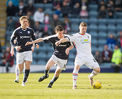 Dundee's Paul McGinn and Inverness Caledonian Thistle's Iain Vigurs. <br /> Dundee 1 v 1 Inverness Caledonian Thistle, SPFL Ladbrokes Premiership game played at Dens Park, 27/2/2016.