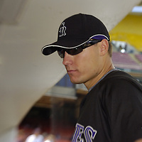 21 July 2007:  Colorado Rockies right fielder Jeff Baker (10) in the dugout prior to the game against the Washington Nationals.  The Nationals defeated the Rockies 3-0 at RFK Stadium in Washington, D.C.  ****For Editorial Use Only****