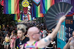 © Licensed to London News Pictures . 25/08/2019. Manchester, UK. The view down a packed Canal Street . Revellers in Manchester's Gay Village during the city's annual Gay Pride festival , which celebrates LGBTQ+ life and is the largest of its type in Europe . Photo credit: Joel Goodman/LNP
