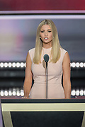 Ivanka Trump, daughter of GOP Presidential candidate Donald Trump, addresses delegates on the final day of the Republican National Convention July 21, 2016 in Cleveland, Ohio.