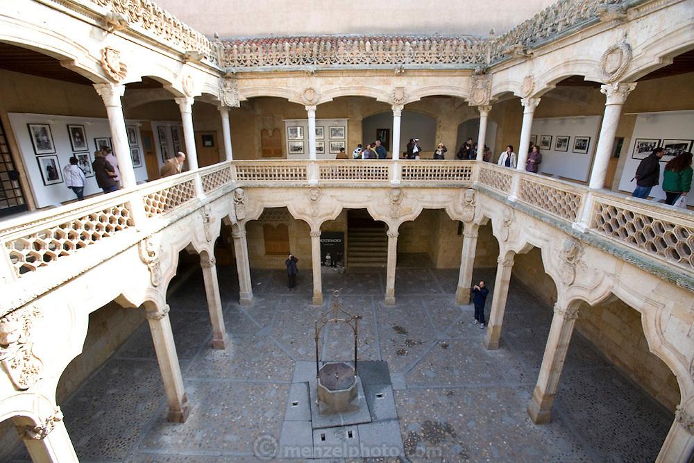 Interior courtyard of La Casa de las Conchas, Salamanca, Spain.