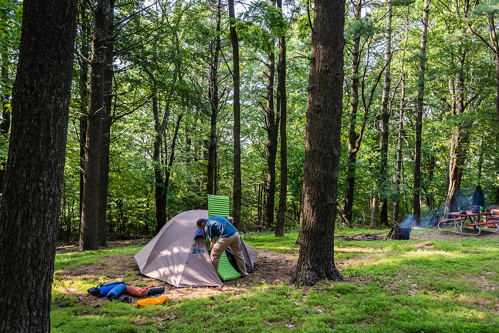 Setting the tent at the Rocky Knob camping on the BRP